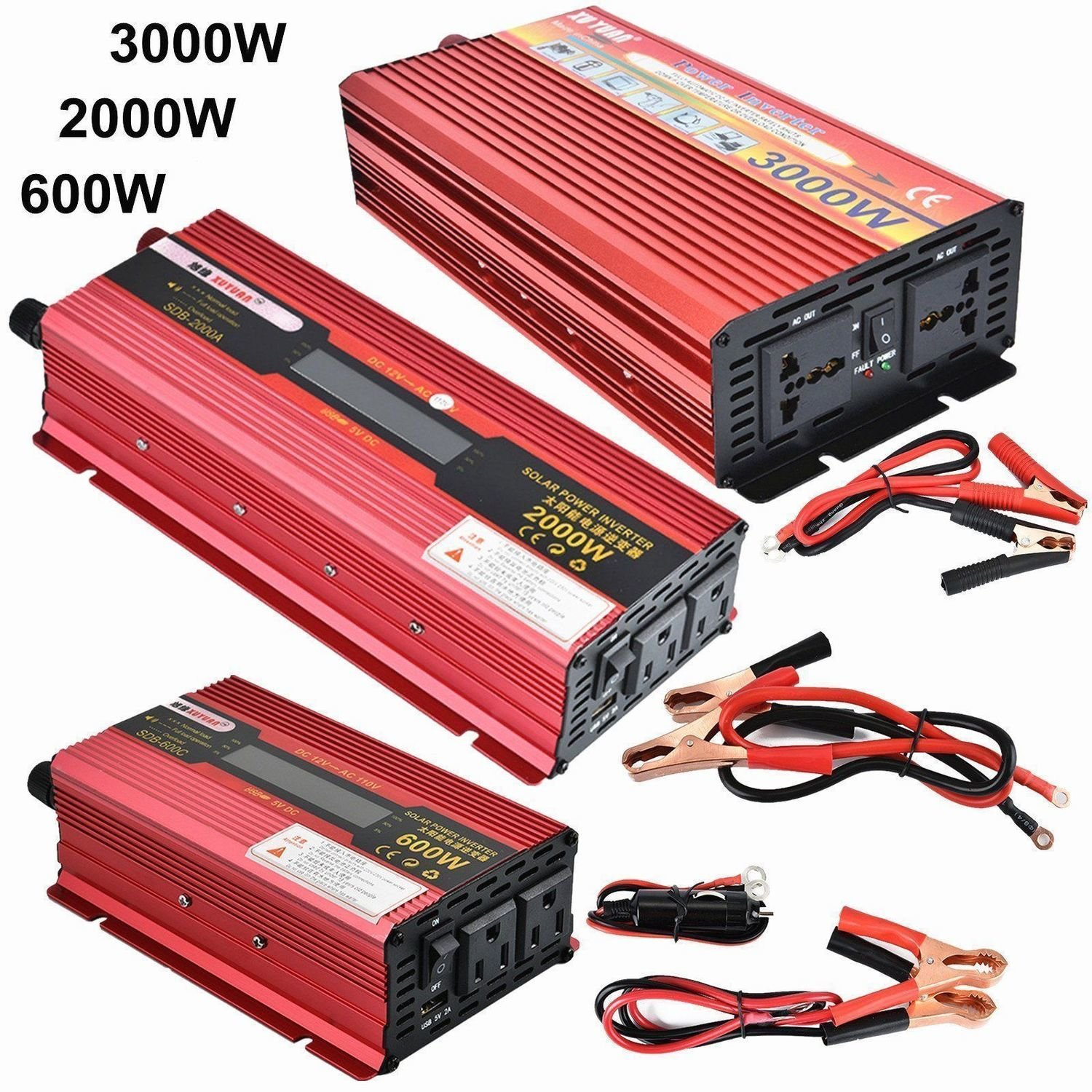 Power Inverter 3000 WATT DC 12V/24V to AC 110V Charger Converter