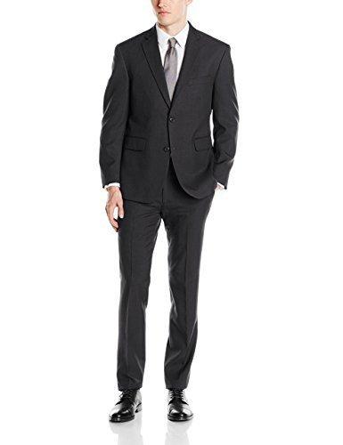 Louis Raphael Men's Slim Fit Two Button Side Vent Sharkskin Solid Suit