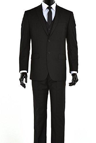 Elegant Men's Black Two Button Three Piece Suit