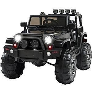 TOY  Truck w/ Remote Control, 3 Speeds, Spring Suspension, LED Light Black 12v