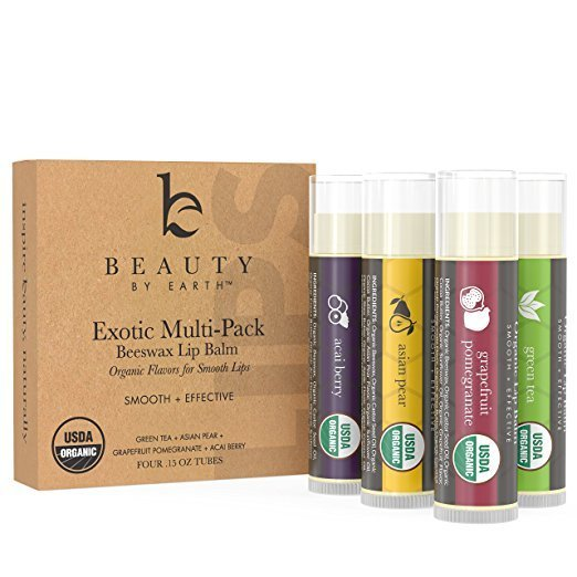 New Beauty by Earth Organic Lip Balm Multi Pack; Fruit Flavored Moisturizing Natural Beeswax Chapstick; Long Lasting Therapy to Repair Dry Chapped Cracked Lips (4 Tubes in Pack)