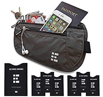Bag  Grid Money Belt w/RFID Blocking - Concealed Travel Wallet & Passport Holder