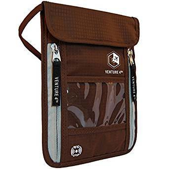 NEW Brown Travel Neck Pouch Neck Wallet Stash with RFID Blocking – Passport Holder
