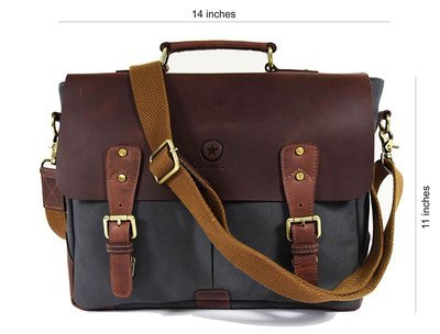 """Shoulder 14.5"""" Vintage Handmade Leather Canvas Messenger Bag 