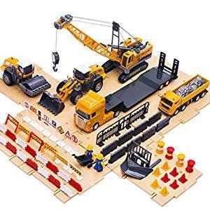 BIG driver iPlay, iLearn Engineering Construction Site Play Set, Learning Educational 7 Vehicles, Dump Truck, Crane, Car Toy Gifts for Age 3, 4, 5 Year Olds and Up Toddlers, Boys, Girls, Kids, Child