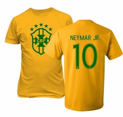 Original Neyma T-short 100% Cotton Printed in the U.S on a high quality garment Designed and Manufactured by Tcamp Machine Washable Brazil 2018 National Soccer #10 NEYMAR JR