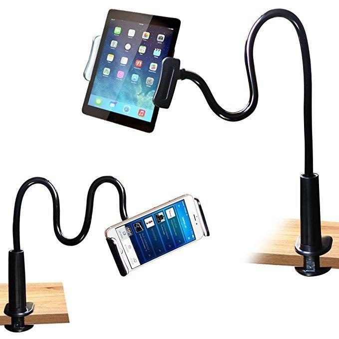 Easy Cell Phone Stand Holder, FeelPower Tablet Clip Holder,Long Arm Gooseneck Flexible Lazy Bracket for ipad/ iPhone X/8/7/6/6s Plus Samsung S8/S7 Mount for Desktop Bedroom, Office, Bathroom, Kitchen
