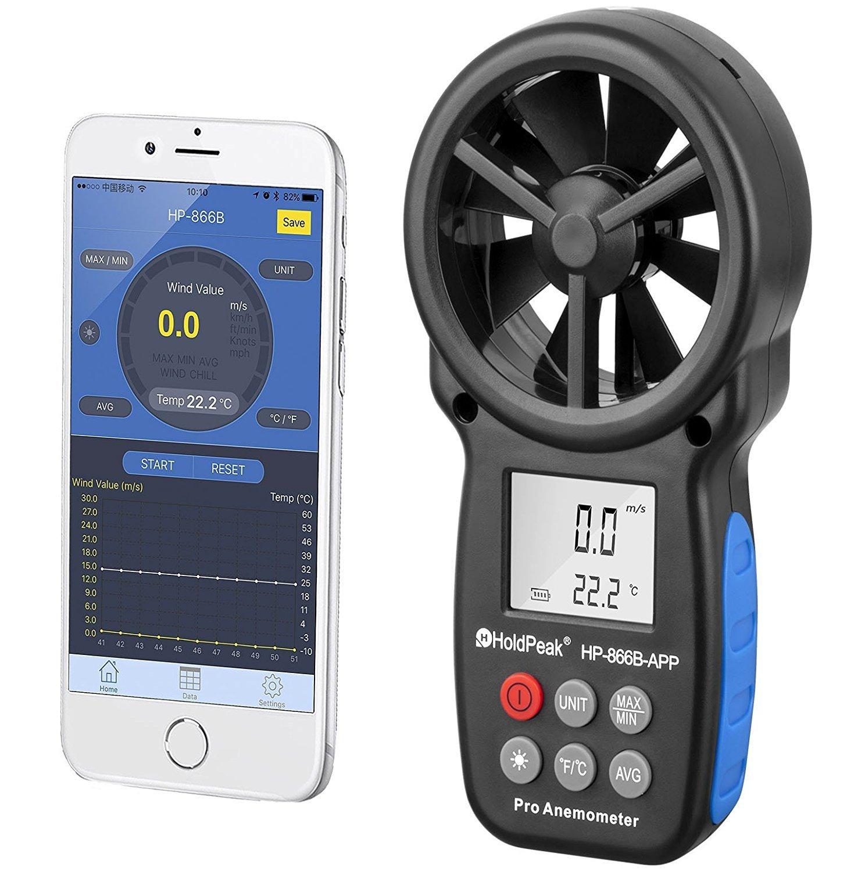 Controller Temperature HOLDPEAK 866B-APP Digital Anemometer Handheld APP Wind Speed Meter for Measuring Wind Speed, Temperature, Wind Chill with Backlight (Black)