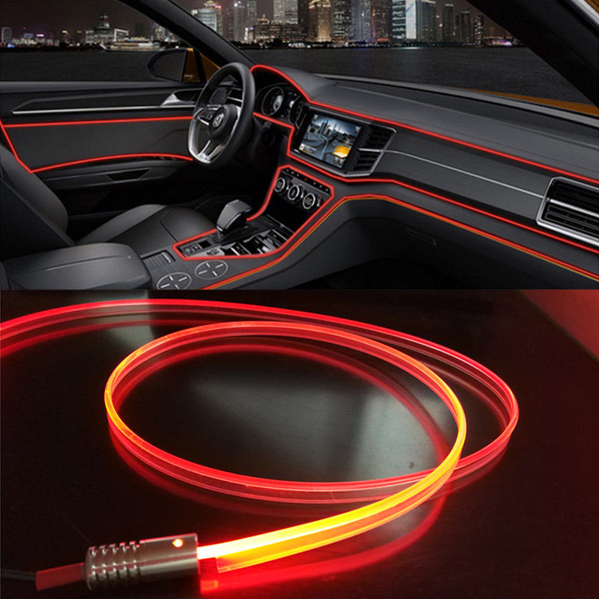 Beauty 4M Fiber Optic Interior Lights 12V 4LED Ambient Lamp Red Car Interior Decor DIY