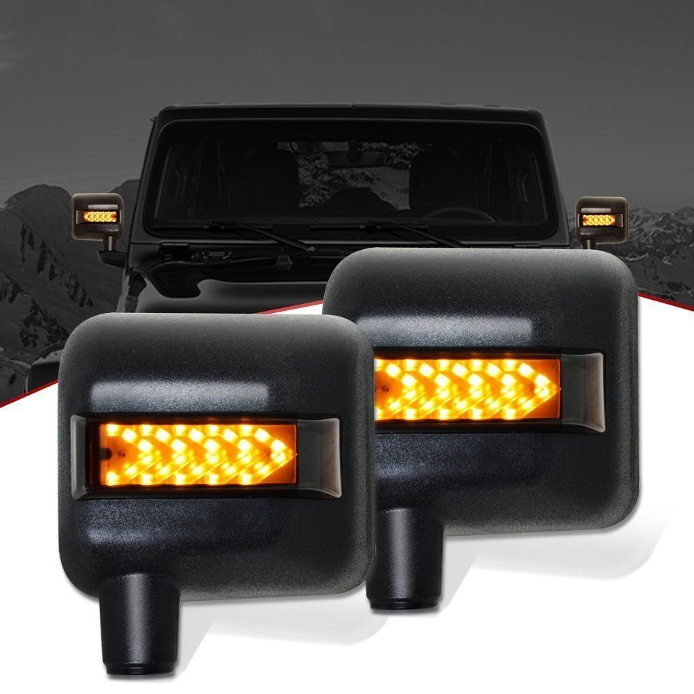 Car Lighting JEEPFAST Jeep Wrangler Side Mirror Housing with Turn Signal Lights Pair 2007-17