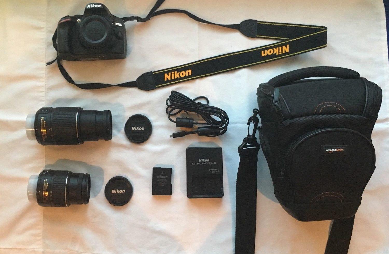Nikon D3200 Profesional Digital SLR Camera Bundle - w/ 18-55mm and 55-200mm lenses and case