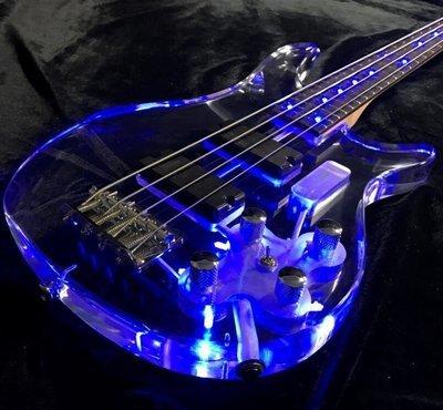PLAY 4 Strings LED Light Electric Bass Guitar Frets Light Guitar Acrylic Body Blue