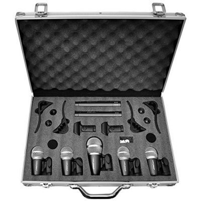 Device Pyle Pro 7-Piece Wired Dynamic Drum Mic Kit - Kick Bass, Tom / Snare & Cymbals Microphone Set - For Drums, Vocal, & Other Instrument - Complete with Thread Clip, Inserts, Mics Holder & Case