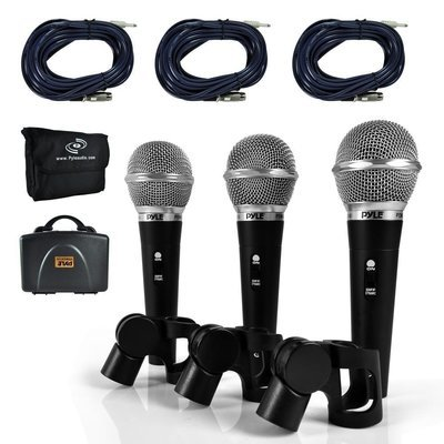 New Pyle 3 Piece Professional Dynamic Microphone Kit Cardioid Unidirectional Vocal Handheld MIC with Hard Carry Case & Bag, Holder/Clip & 26ft XLR Audio Cable to 1/4'' Audio Connection