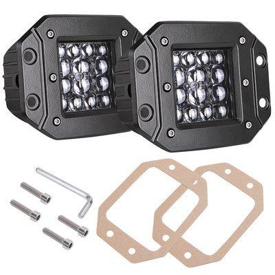 Car Row LED Pods, AKD Part 2pcs 84W LED Flush Mount 5 inch Spot Beam Philips LED Light Bar LED Work Light Driving Lights Super Bright Fog Light Off Road Lights for Truck Bumper Boat