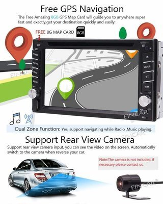 Car  Backup Camera Included + NEW Design Double Din Car Stereo DVD Player GPS Navigation Radio Bluetooth 2 Din Capacitive Touch Screen support USD SD 1080P SWC Car Logo Multi Language Remote Control