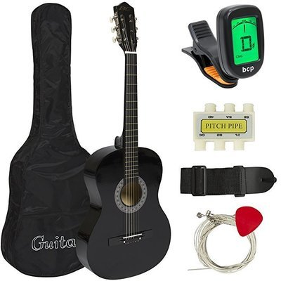 Music   Best Choice Products Beginners 38'' Acoustic Guitar with Case, Strap, Digital E-Tuner, and Pick, (Black)