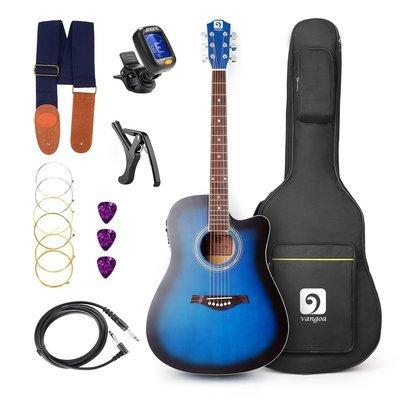 Guitar Vangoa - 41inch Full-Size VG-41ECBL Blue Acoustic Electric Cutaway Guitar with Guitar Gig Bag, Strap, Tuner, String, Picks, Capo
