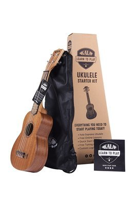 LERN to Play Guitar Kala Learn to Play Ukulele Soprano Starter Kit, Light Mahogany – Includes online lessons, tuner, and app, Light Mahogany Stain, Learn to Play Kit