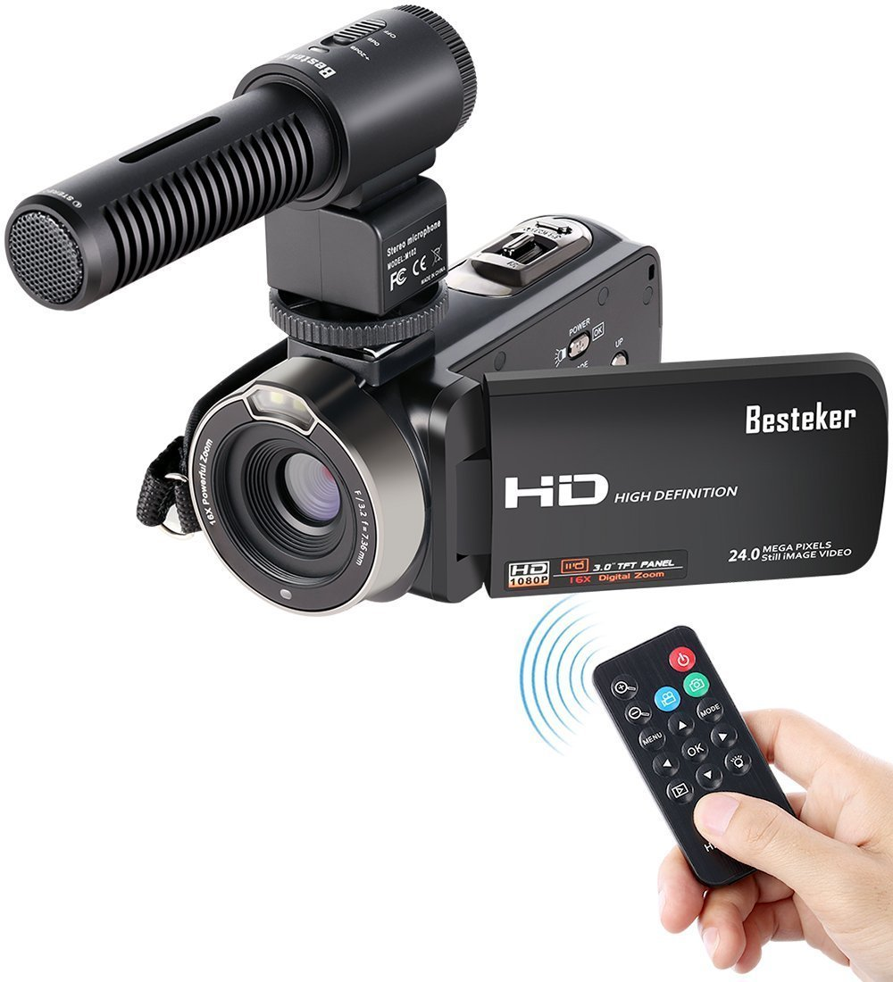 New viewer Video Camcorder, Besteker FHD 1080p Camcorders with External Microphone and Remote Control Digital Camera Camcorder
