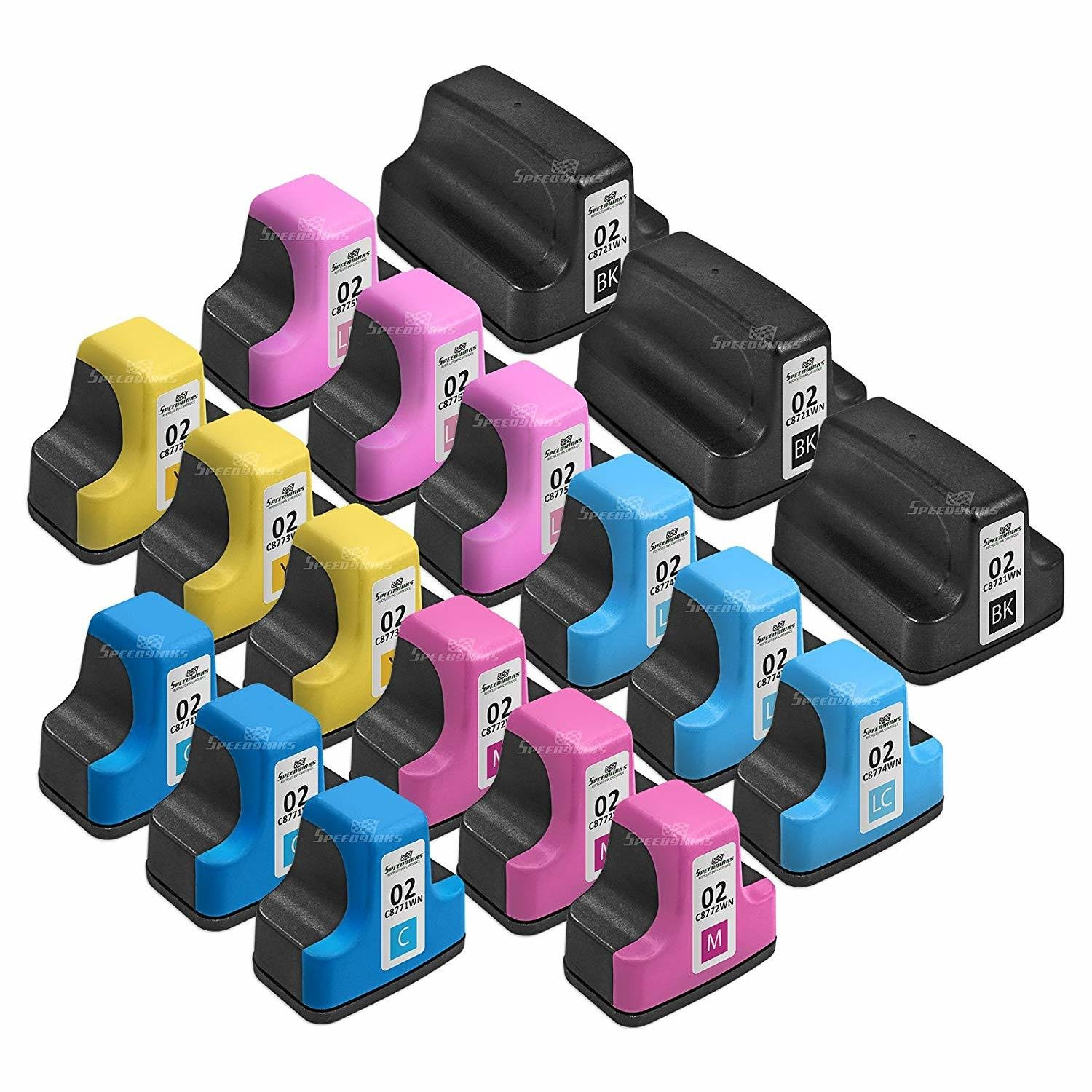 Now Speedy Inks - 18PK Remanufactured Replacement for HP 02: 3 Black C8721WN, 3ea Cyan C8771WN, Magenta C8772WN, Yellow C8773WN, Lt Cyan C8774WN, Lt Magenta C8775WN Ink Cartridge Set