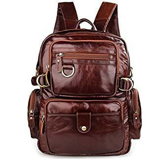 View Texbo Genuine Polished Leather Small Backpack School Shoulder Bag