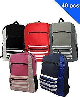 School  Classic Backpack Basic Bookbag Stripe School Book Bags ( Package of 18 Pieces)