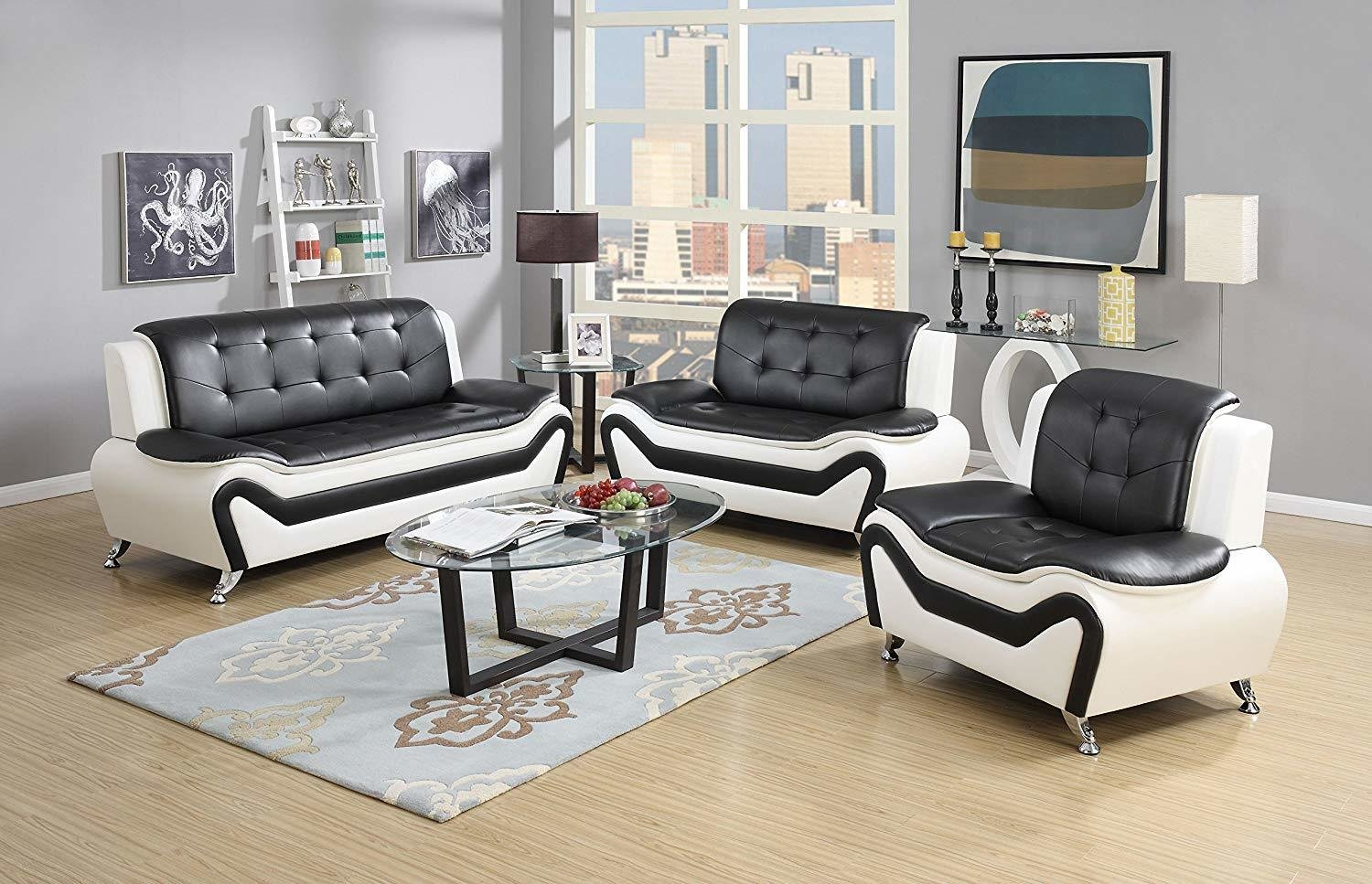 Set of 3 Pieces Modern Bonded Leather Sofa Set with Sofa