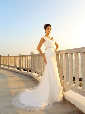 New arriving Pleats Sleeveless Long Net Beach Wedding Dresses