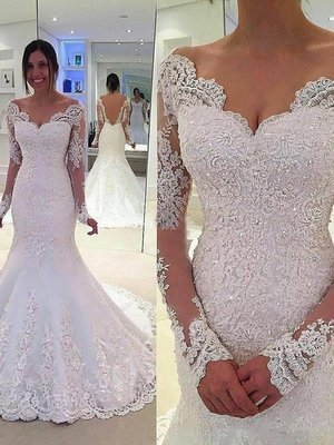 View V-neck Long Sleeves Lace Court Train Tulle Wedding Dresses