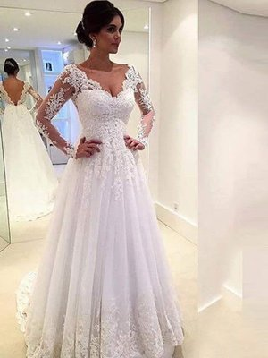 Hoting V-neck Long Sleeves Lace Court Train Tulle Wedding Dresses