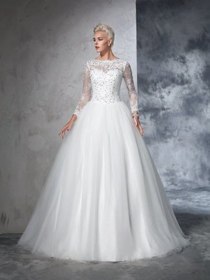 Lifetime Lace Long Sleeves Long Net Wedding Dresses