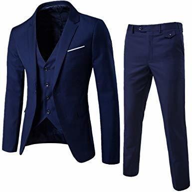 Men Fashion 3-Piece Suit Blazer Dress Business Wedding