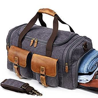 Best Canvas Duffle Bag Oversized Genuine Leather Weekend Bags for Men and Women