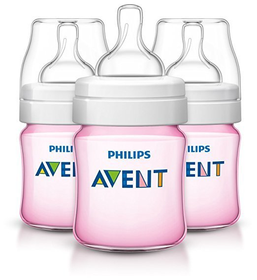 Philips Avent Anti-colic Baby Bottles Pink, 4oz, 3 Piece