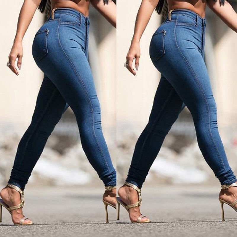 Stretch Womens Skinny Denim Casual Jeans High Waist