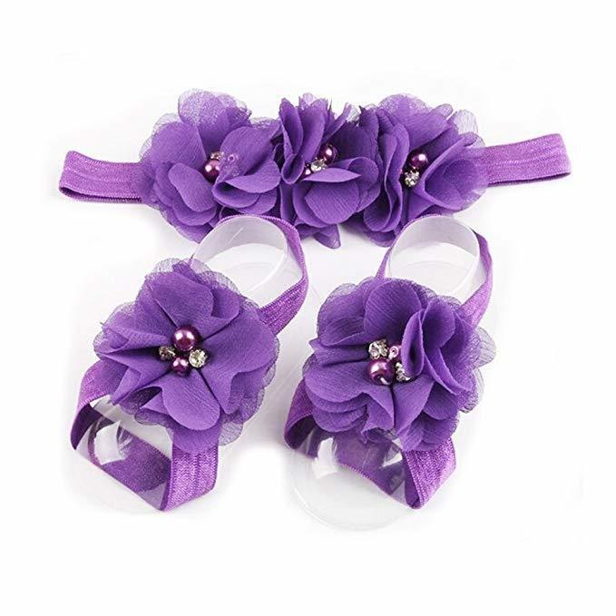 Dress Baby Girl Foot Flower + Headband