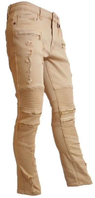 Mens Ripped Slim Stretchy Fit Tear Twill Pants Jeans