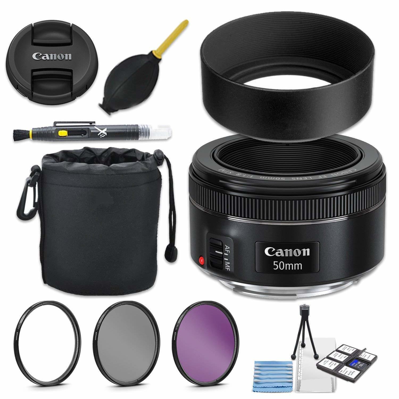 Canon EF 50mm f/1.8 STM Lens + 49mm Metal Lens Hood