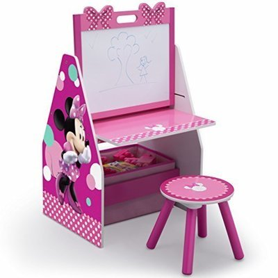 Children Activity Center with Easel Desk, Stool and Toy Organizer