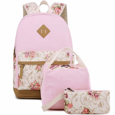 Girls School Bags, (Floral Pink - 3pcs)