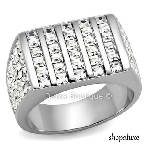 Men's 3.75 Ct Princess Cut Cubic Zirconia Silver Stainless Steel Ring Size 8-13