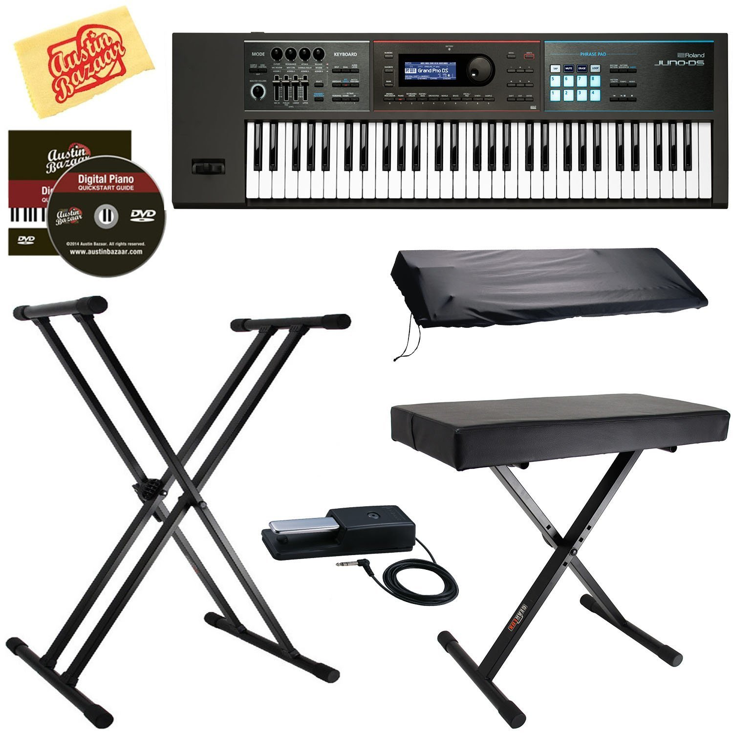 Roland JUNO-DS61 Synthesizer Bundle with Roland DP-10