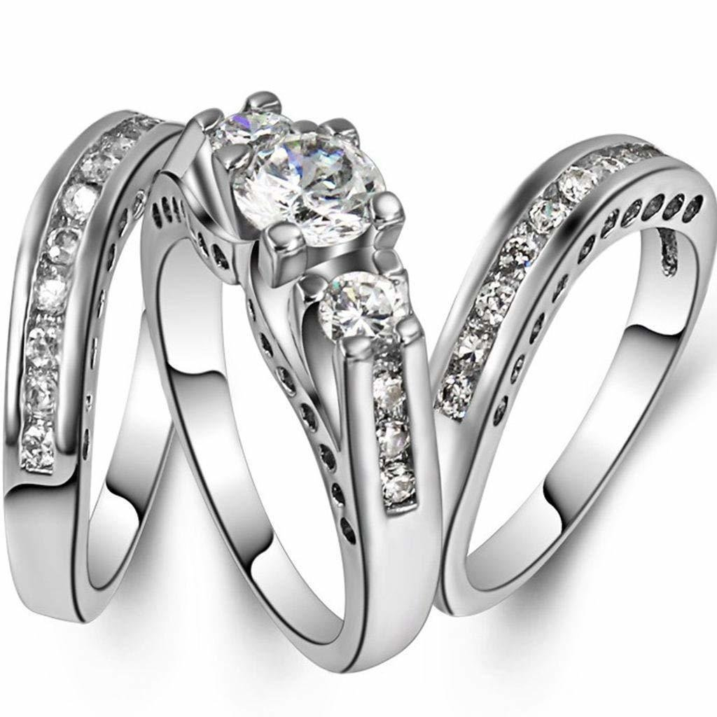 Ploymanee Jewelry Size 4-12 Three-in-One Engagement Rings
