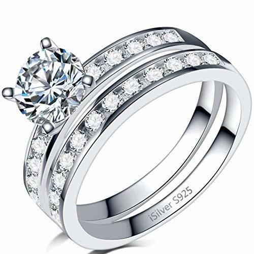 925 Sterling Silver Wedding Ring Set