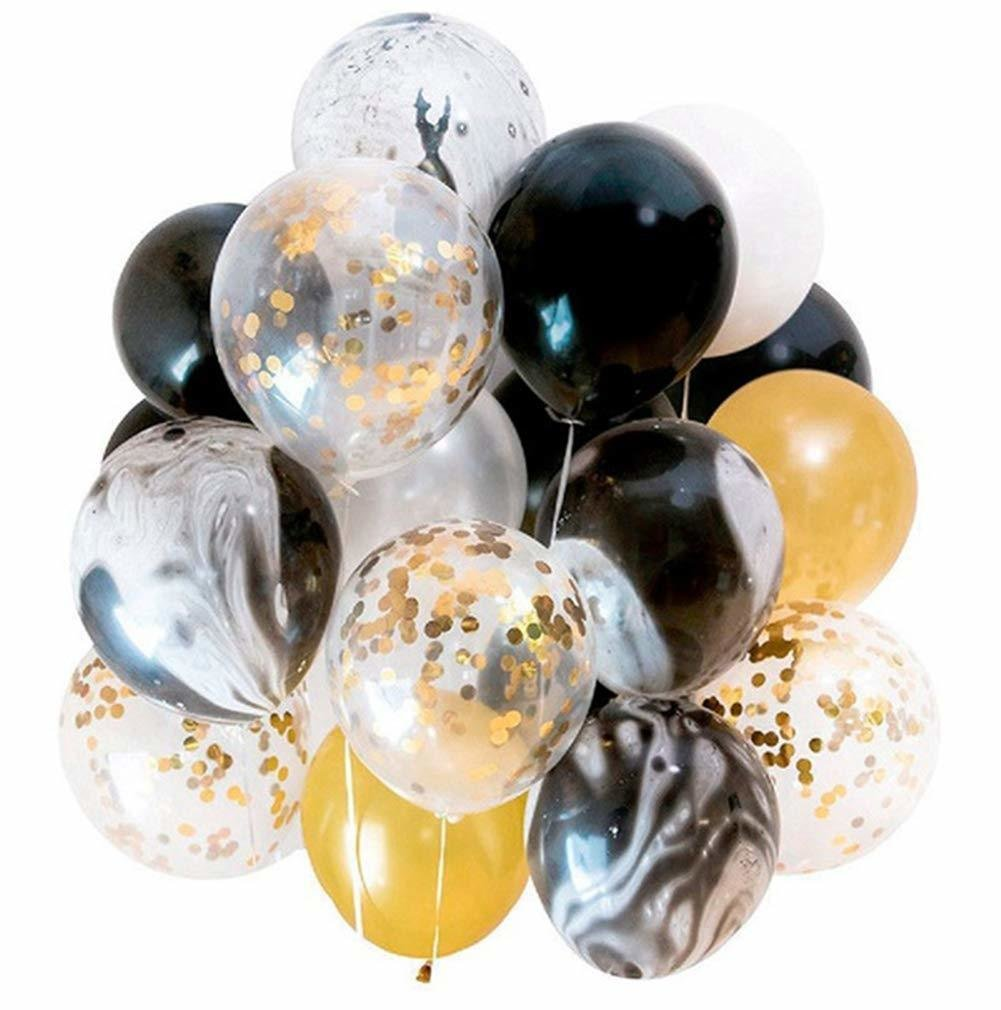 Modern Gold and Black Agate Mix Latex Party Decoration