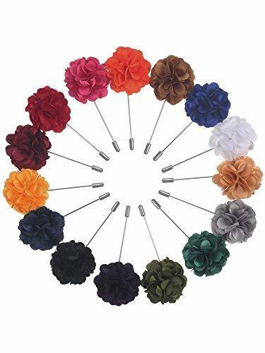 Pangda 15 Pieces Men's Lapel Pin Handmade Satin Flower Boutonniere Pin