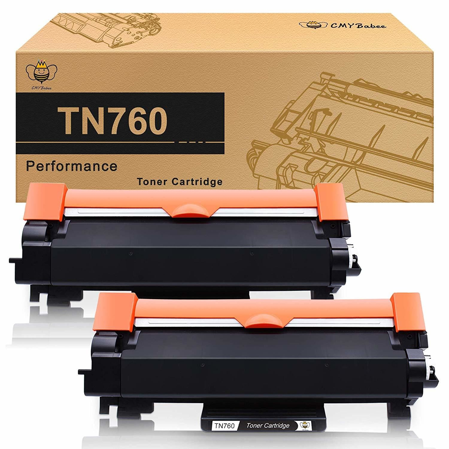 TN760 TN730 Toner 2 Pack CMYBabee with CHIP for Brother TN-760 TN-730 Black High