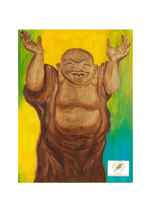 "Joyful Buddha, 10""x12"" Art Print"