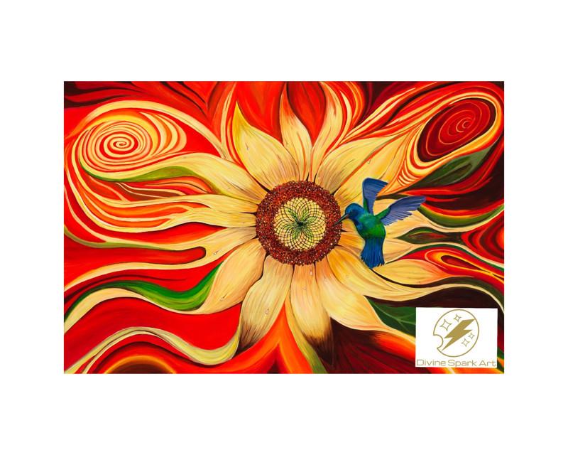 "Hummingbird and Sunflower, 12""x10"" Art Print"